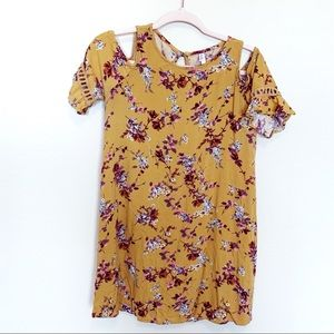 Mustard yellow floral cold shoulder fall dress